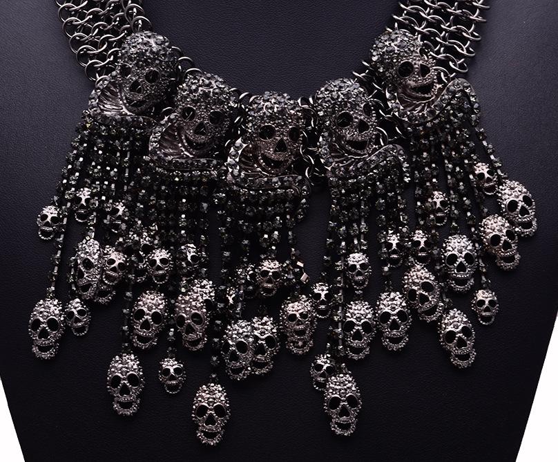 2018 огромное ожерелье с головой скелета короткая цепь женские