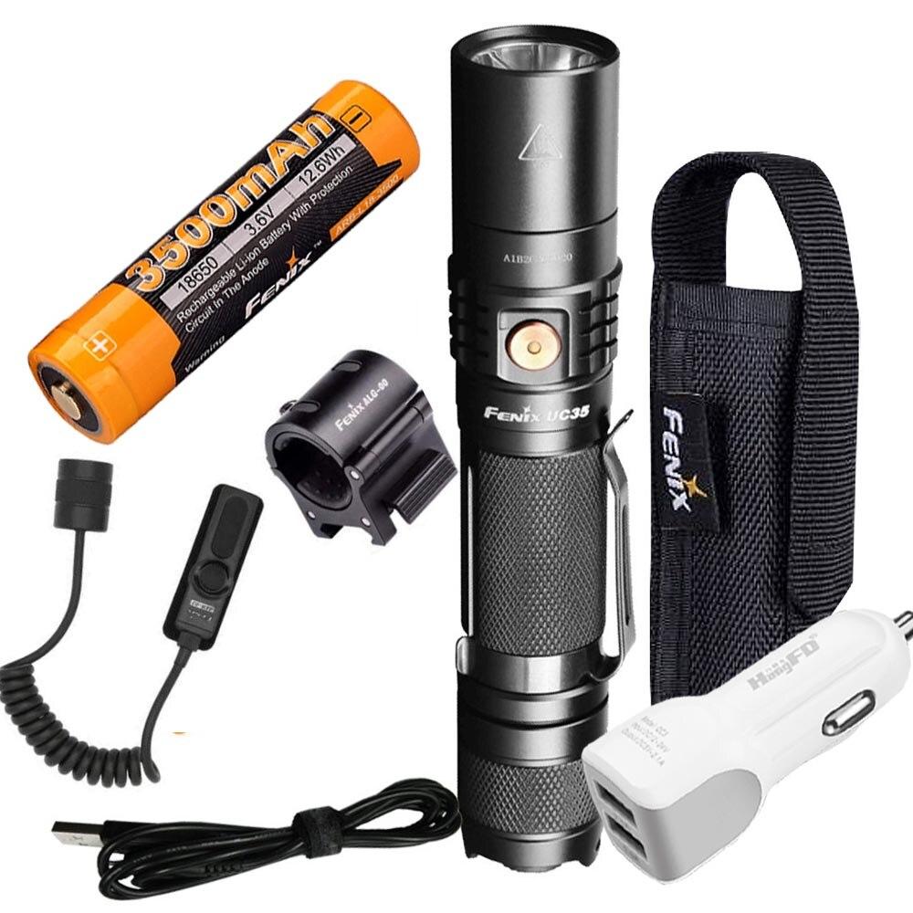 Fenix UC35 V2.0 2018 обновления 1000 люмен Аккумуляторный тактический фонарик + 3500 mAh Батарея, кобура, AER 02, ALG 00