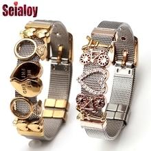 SEIALOY Красочные Нержавеющая сталь сетки часы браслеты для пояса для женщин мужчин пара Шарм Часы браслет-цепочка Браслеты подарок