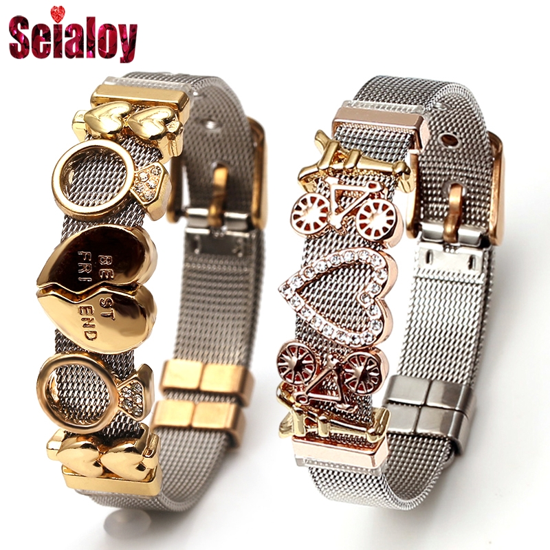 Seialoy Colorful Stainless Steel Mesh Watch Belt Bracelets For Women Men Couple Original Charm Watch Chain Bracelet Bangles Gift