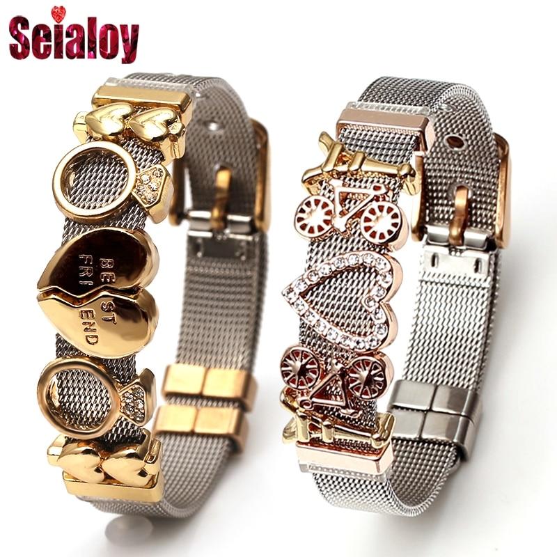Seialoy Colorful Stainless Steel Mesh Watch Belt Bracelets For Women Men Couple Original Charm Watch Chain Bracelet Bangles Gift