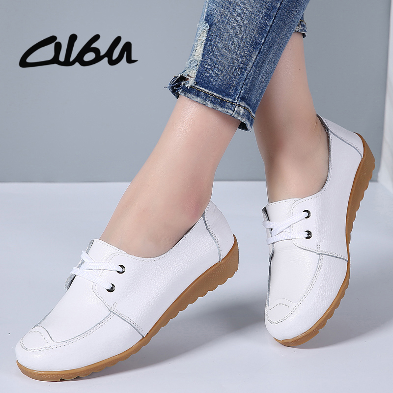 O16U Women Casual Shoes Genuine Leather Lace up Moccains Round Toe Rubber Sole Boat Shoes Flats