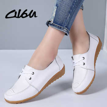 O16U Women Casual Shoes Genuine Leather Lace up Moccains Round Toe Rubber Sole Boat Shoes Flats Women Retro Ballet Flat Shoes - DISCOUNT ITEM  40 OFF Shoes