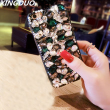 XINGDUO Luxury Glitter Crystal shell for Samsung A7 2018/Note 5 8 9 Bling Diamond rhinestone soft Phone case S10 S9 S8 PLUS