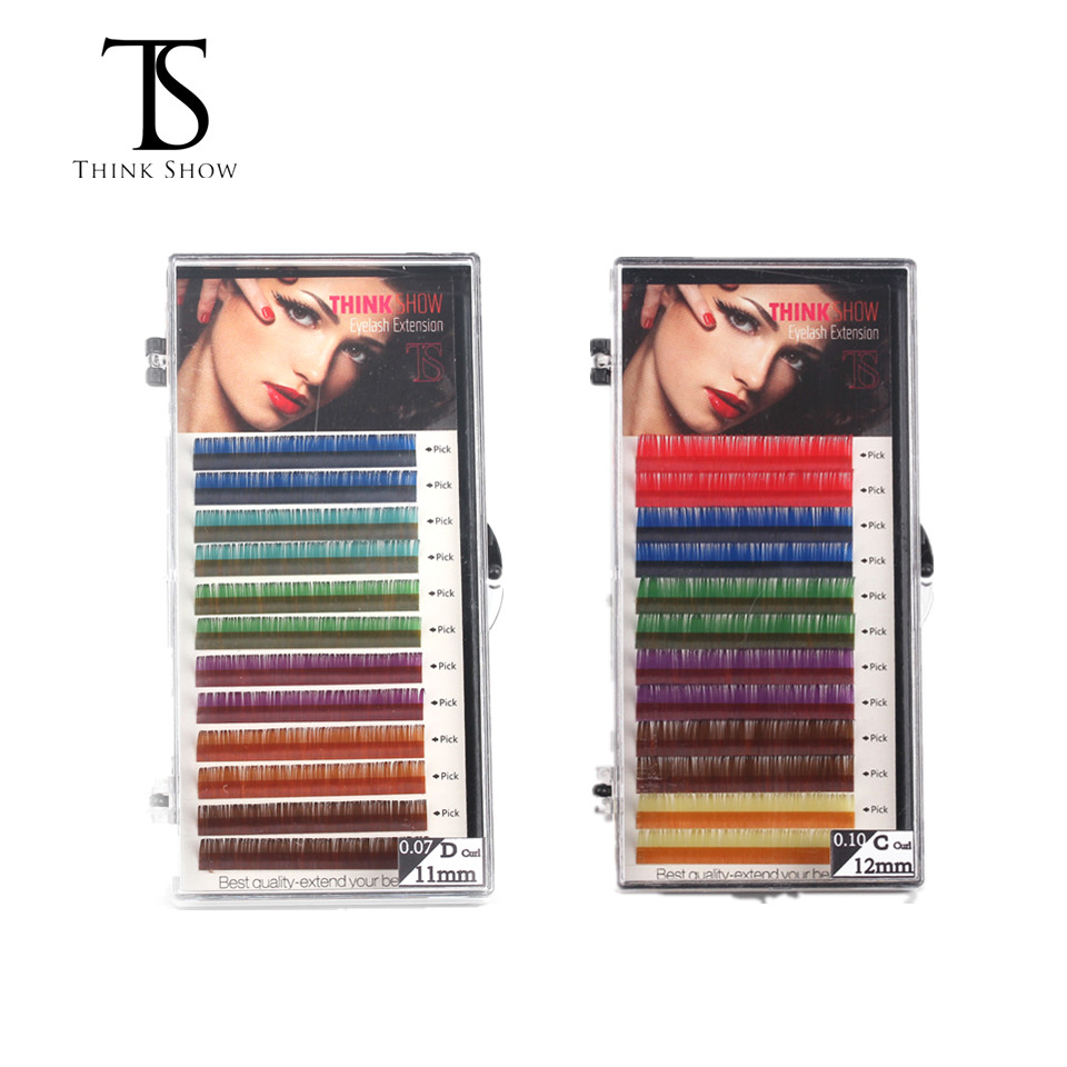 THINKSHOW Colorful Lashes Extension C D Curl Individual Eyelashes Rainbow Colors False Eyelashes Extensions Mink Cilio