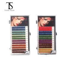 THINKSHOW Colorful Lashes Extension C D Curl Individual Eyelashes Rainbow Colors False Extensions Mink Cilio