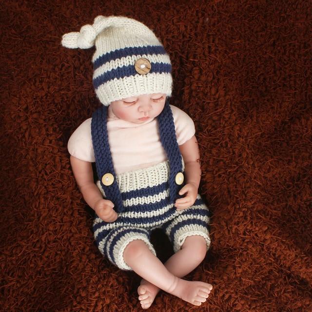 Bebé recién nacido fotografía props azul rayas traje de punto de ...