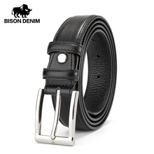 BISON DENIM Men Belt Leather Male Genuine Leather Strap Luxury Pin Buckle Casual Mens Belt Cummerbunds Ceinture Homme N71308