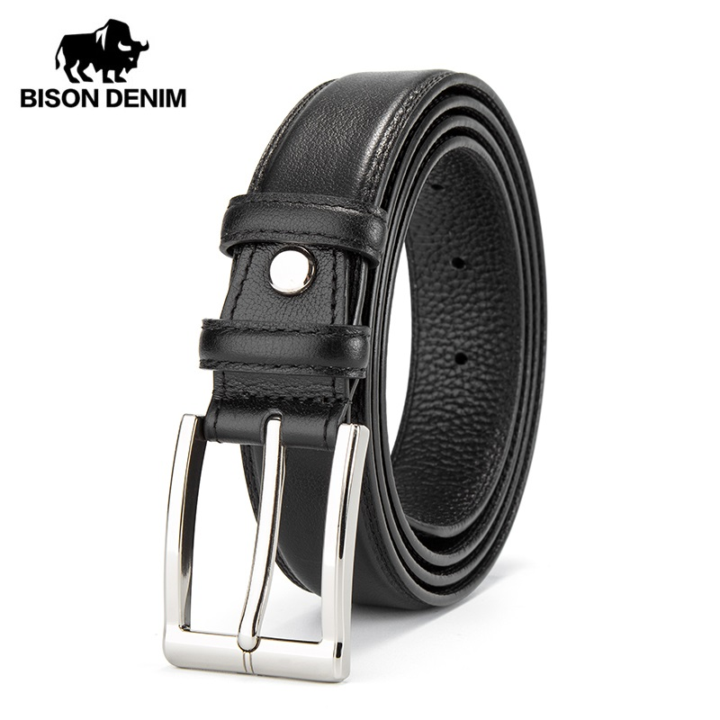 BISON DENIM Men   Belt   Leather Male Genuine Leather Strap Luxury Pin Buckle Casual Men's   Belt   Cummerbunds Ceinture Homme N71308