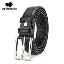 Cinturón de mezclilla BISON para hombre, correa de cuero genuino para hombre, hebilla de Pin de lujo, cinturón Casual para hombre, Cummerbunds Ceinture Homme N71308