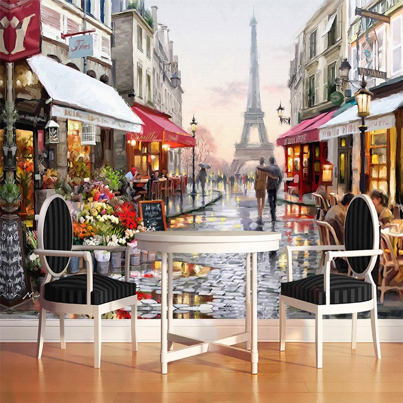European style street oil painting 3d photo mural for Cafe mural wallpaper