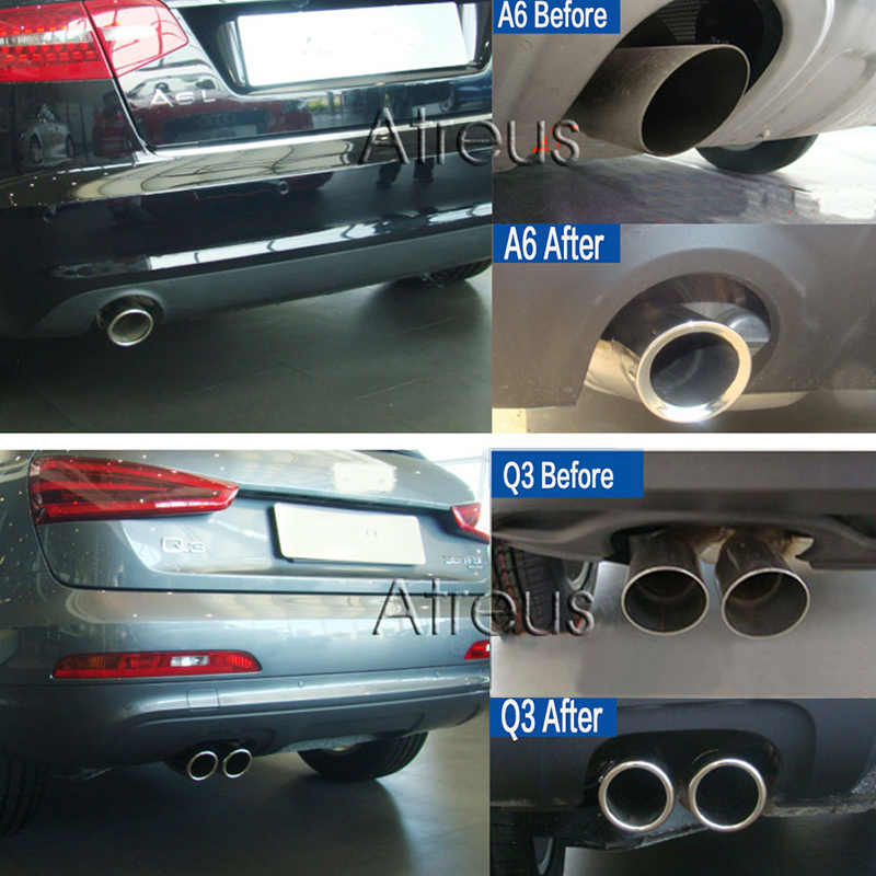 ZD 2PCS Stainless steel Automobiles Car Exhaust Tip Muffler Pipe Covers For  Audi A3 A4 B8 A6 C6 A5 Q5 Q7 Q3 A1 Auto Accessories