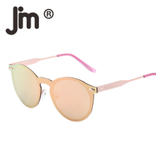JM Wholesale 10pcs/lot Round Rimless Polarized Mirrored Sunglasses Women Men Metal Frame Vintage Frameless Sun Glasses
