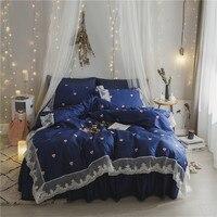 korean bed linen queen size egyptian cotton duvet cover set girls blue bedding set lace home textile wedding bedspread princess