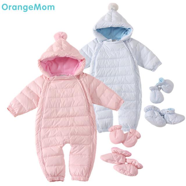 Rusia invierno! 2017 espesar abrigos de invierno bebé traje para la nieve abajo mameluco + fleece trajes chaquetas térmicas, muchachas de los bebés ropa