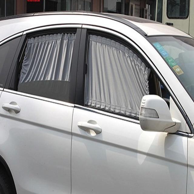 2 stksset aluminiumlegering elastische auto side window zonnescherm gordijnen auto windows gordijn zonneklep jaloezien
