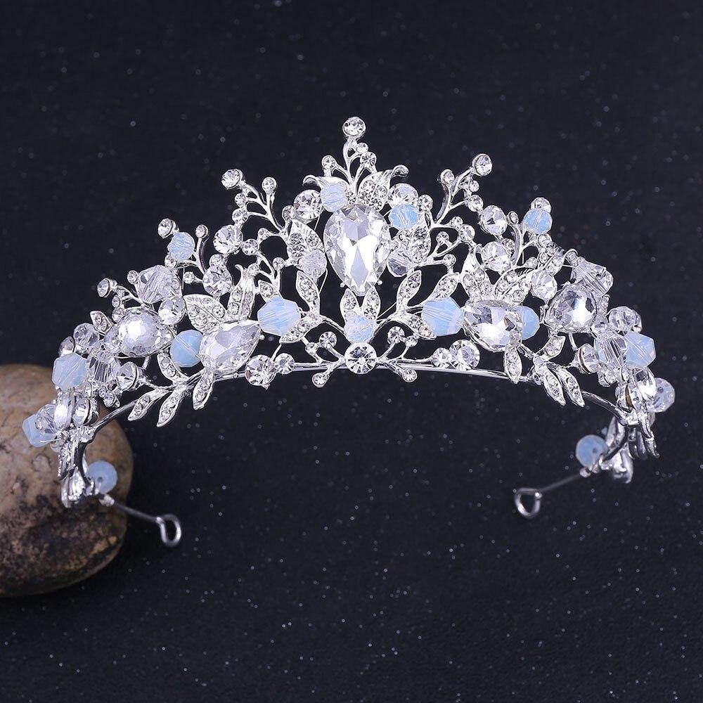 Bleu ciel strass couronne mariée mariage cheveux accessoires Pageant diadème couronne bijoux