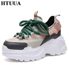 HTUUA New 2018 Spring Autumn Ladies Shoes Black Lace-Up Casual Shoes High Platform Shoes Women Sneakers Flats tenis SX1451