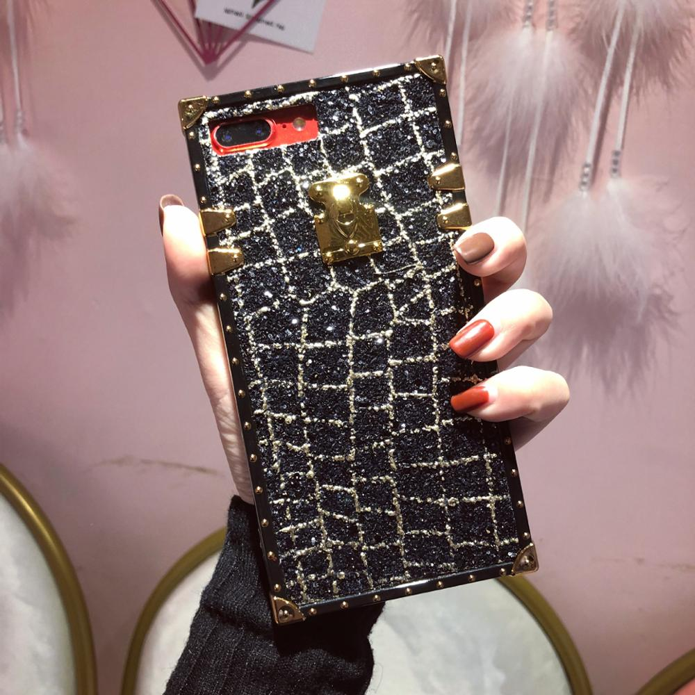 Urmwing Phone Cases for Iphone X 6 7 8 Plus Luxury Fashion Classical Pretty Glitter Metal Square Lattice Phone Cover Accessories