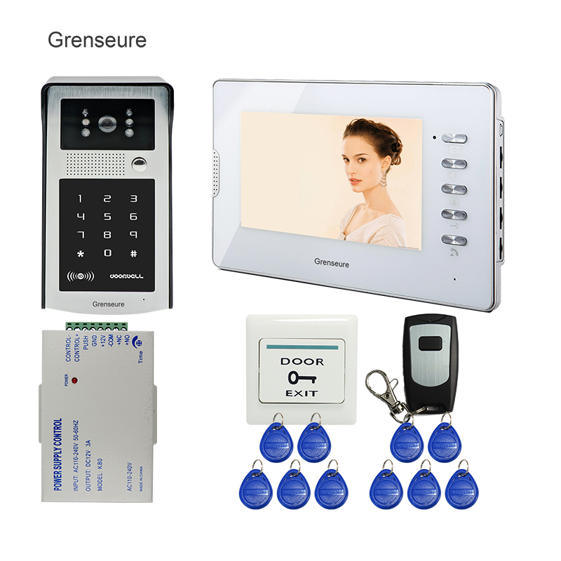 FREE SHIPPING 7 inch Color Screen Video Door Phone Intercom + White Screen + RFID Access Keypad Password Door Camera In Stock free shipping new 7 tft lcd screen record video door phone intercom system outdoor rfid access keypad password camera 8g sd