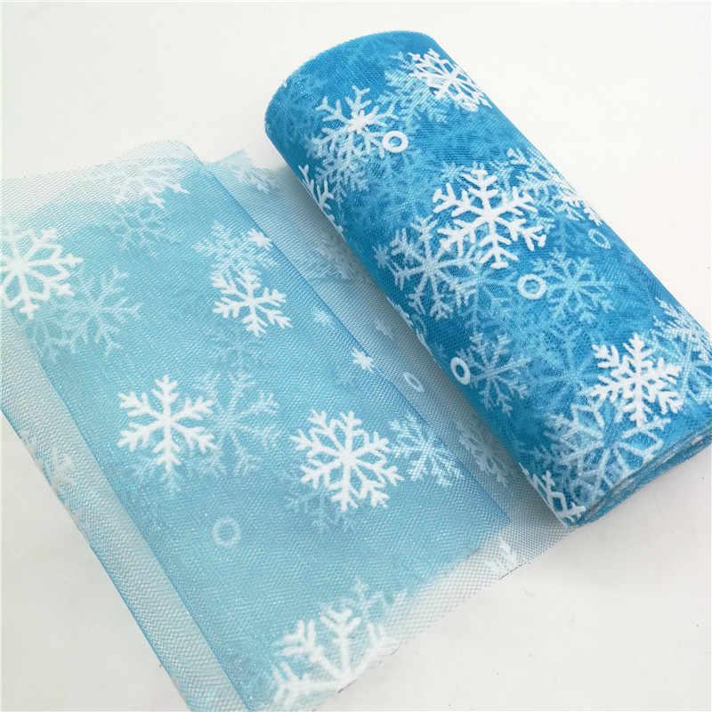 Вечерние тюлевые рулоны из органзы с принтом снежинки для Рождественского украшения, юбка-пачка ледяного цвета, свадебное платье, 6 дюймов * 10 лет