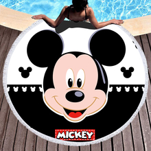 Disney Round Beach Towel Mickey Mouse Bath Microfiber Fabric 150cm Size black color