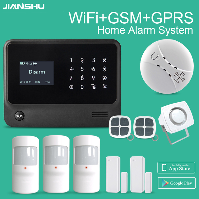 2017 new WIFI Alarm System GSM Alarm Systems Smart Home Alarm Security Products Work with Smoke Detector Home Alarm