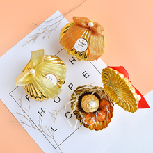 30pcs Golden shell candy box Sexual wedding plastic gift Festival decor chocolate favor packaging boxes Party Supplie