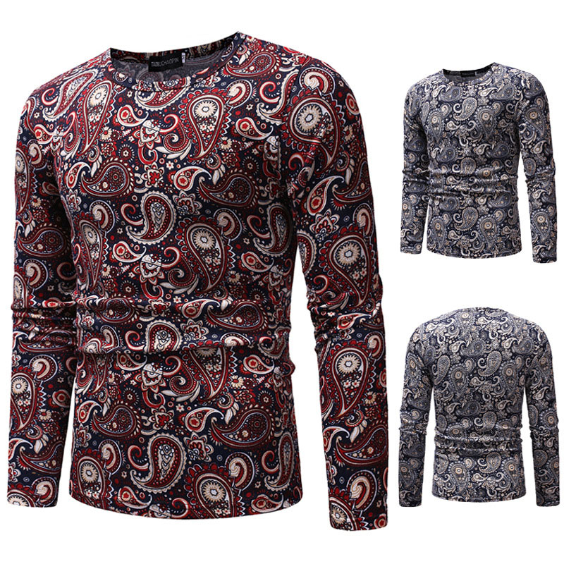 Paisley Floral Print Mens Crew O-Neck Cotton Shirt Male Casual Pullover Long Sleeves Fitted Top Vintage Tribal Shirt For Men