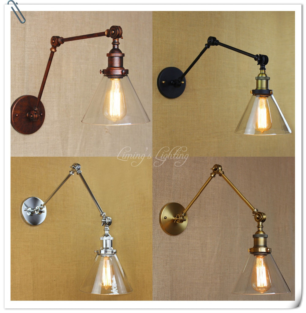 Rh Retro Two Swing Arm Wall Lamp Wall Sconces Glass Shade