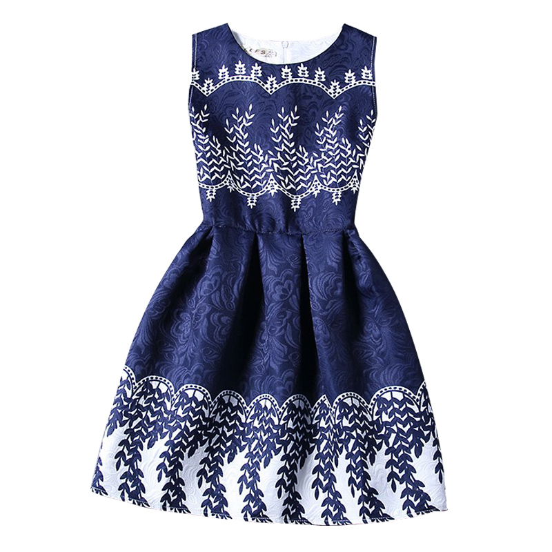 New Big Kids girls Summer Dress Sleeveless Print Party Dresses ladies summer styles sundress female Vestidos Girls Clothes stylish jewel neck sleeveless print spliced women s sundress