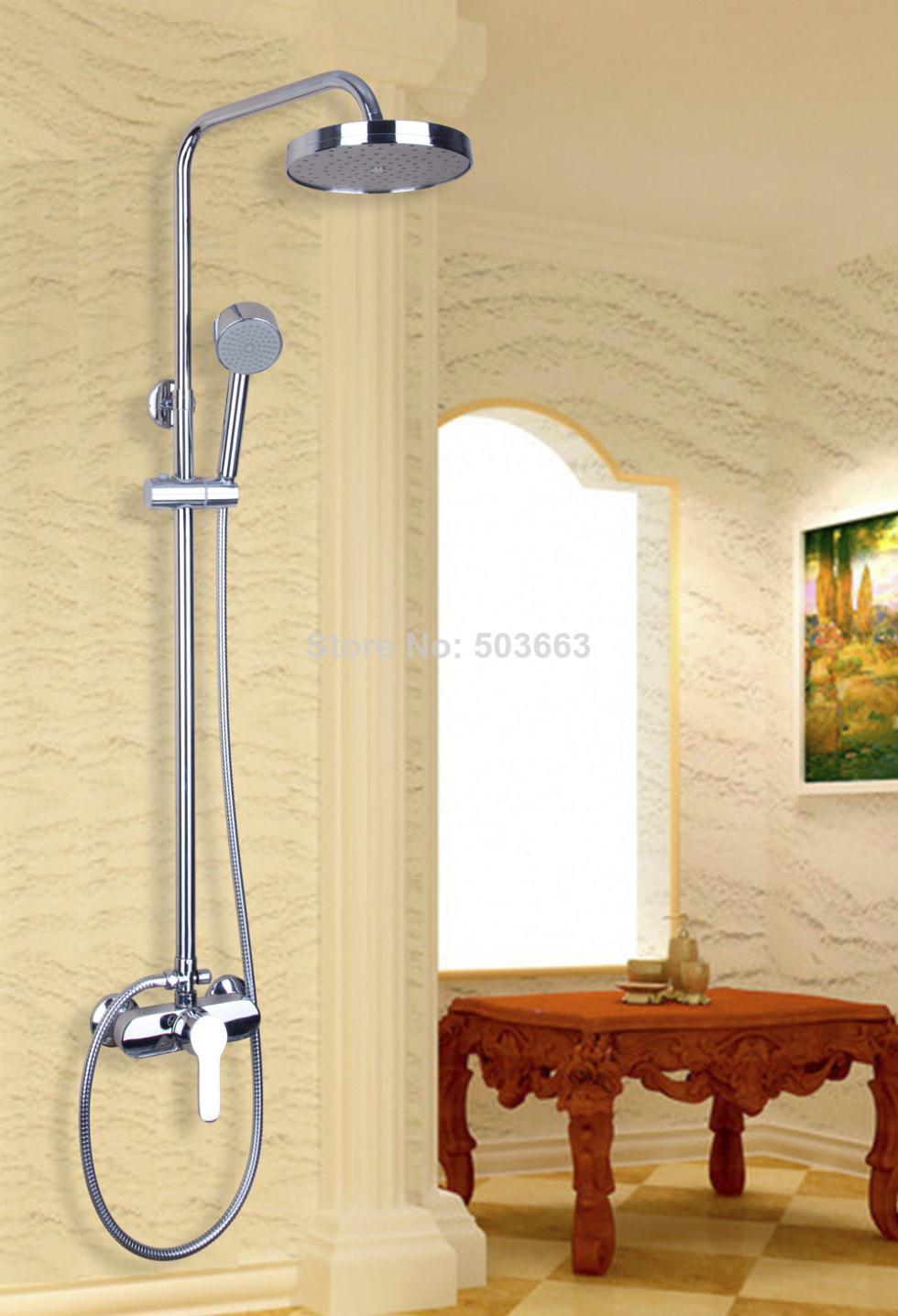 Torayvino 53601 Bath 8 Round Rain Showe Head Hand Shower Set Wall Mount Chrome