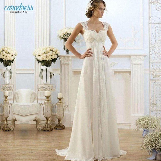 cce916633b4 2017 Elegant Simple Lace Wedding Dresses for Pregnant A Line Cap Sleeve  Beach Summer Chiffon Maternity Wedding Gowns under 100