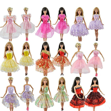 15 Items 5 Set Handmade Mini Dresses Clothes 5 Shoes 5 Hanger for Barbie Doll