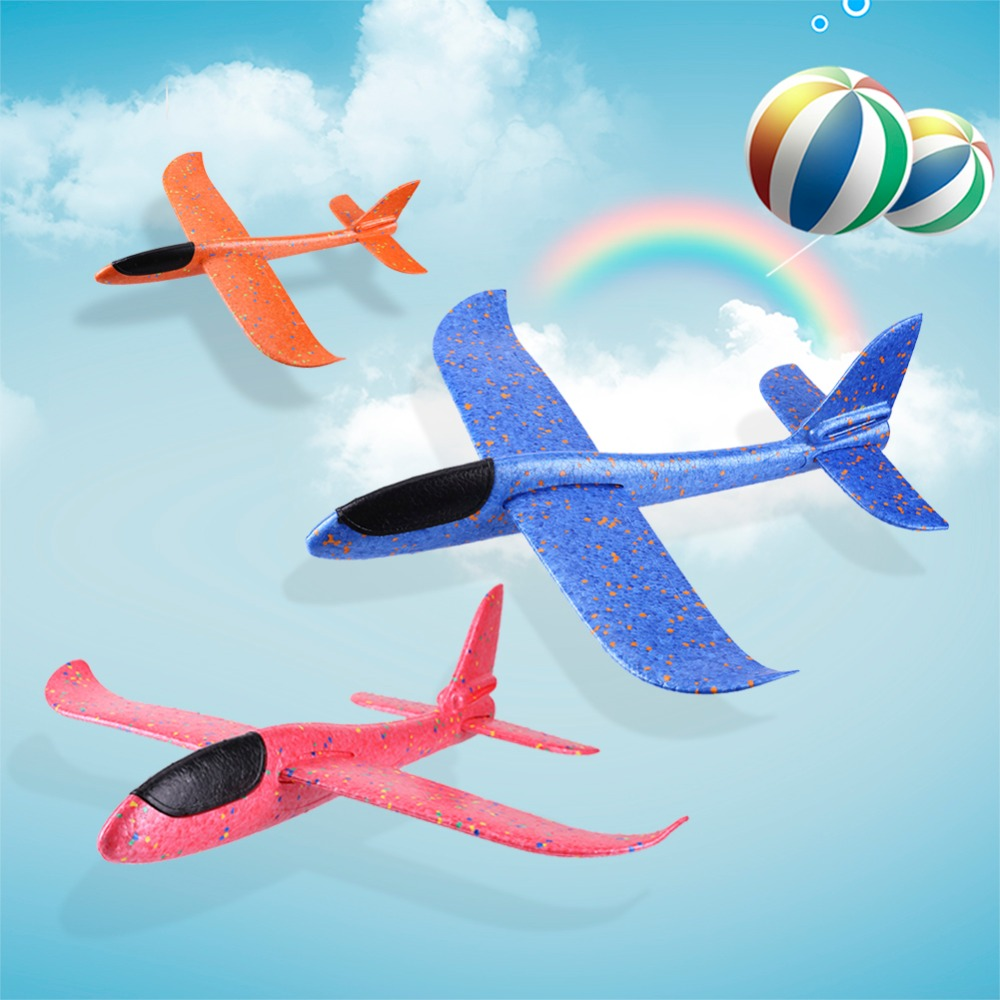 DIY EPP Foam LED Light Hand Throw Airplane Aircraft Model Launch Glider Plane Party Flying Glider Planes Aeroplane Kids Game Toy 48cm foam plane glider aircraft airplane model led night hand throw flying glider epp toy for children
