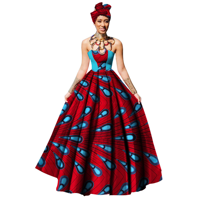 African Dresses For Women Dashikis Print Party Dress Maxi And Strapless Women African Clothing With Free Headwear Plus Size