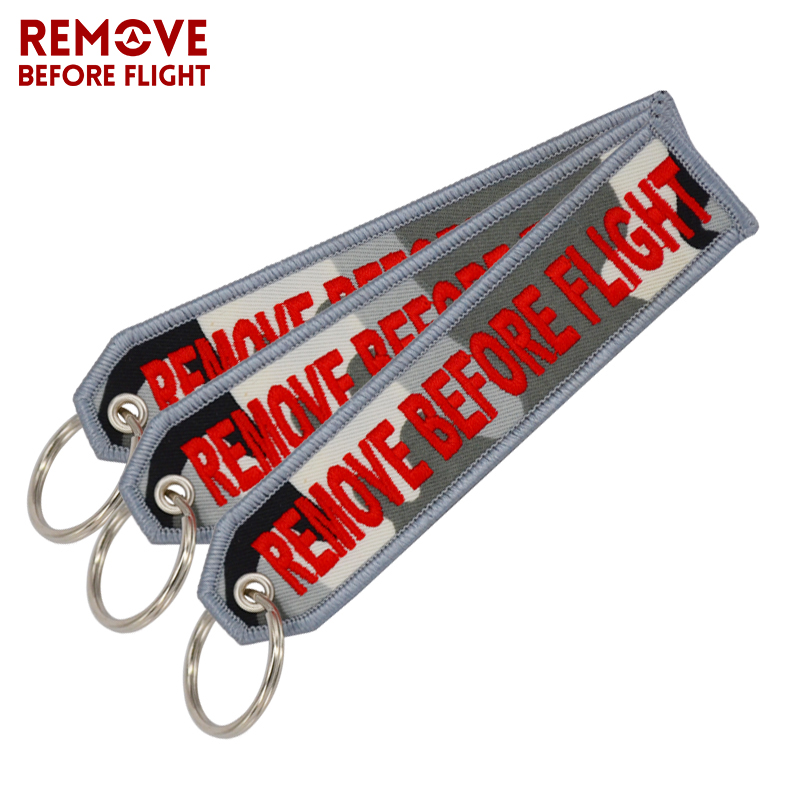 3 PCS/LOT Remove Before Flight Key Ring Keychain Camouflage Key Chain Jewelry Embroidery Aviation Gifts Sleutelhanger Keychain
