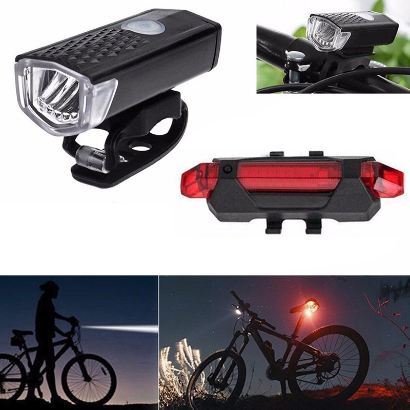 Rechargeable Cycle Bicycle Bike Head Front Light Rear Tail LED Lamp Set USB High Quality Brightness Energy Saving LED
