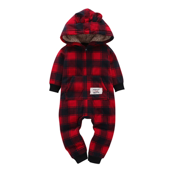 kid boy girl Long Sleeve Hooded Fleece jumpsuit overalls red plaid Newborn baby winter clothes unisex new born costume 2020 1