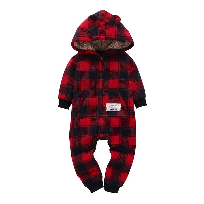 kid boy girl Long Sleeve Hooded Fleece jumpsuit overalls red plaid Newborn baby