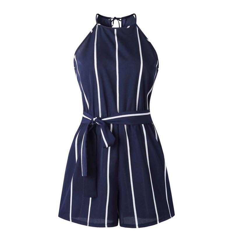 Bodysuit   Jumpsuit   Womens Ladies Mini Playsuit Ladies Summer Shorts Beach Sexy Vertical Stripe Backless Cutaway Rompers