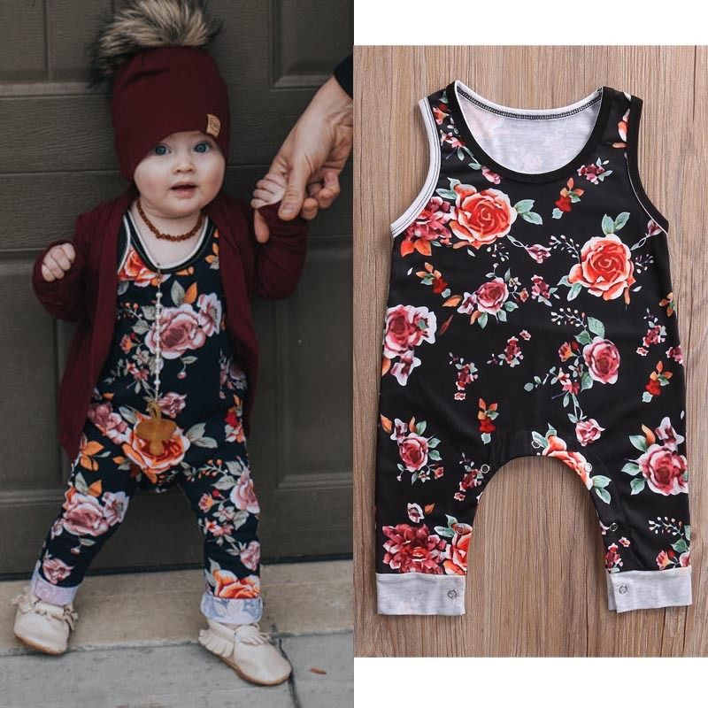 Baby Girl Cotton Floral Romper Jumpsuit Outfit Clothes 0-3Y