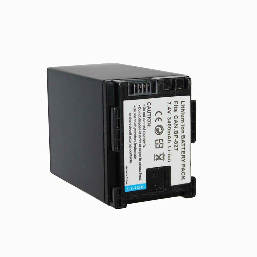 7,4 V 3400 mAh BP-827 BP 827 BP 827 reemplazo batería de la cámara para CANON HF20 HF21 HF S11 HF s10 HF11 al por mayor