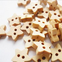 **1000pcs***Wooden 5 star Cute 13mm/0.512 inch Children Girls Clothes Buttons Sewing Craft DIY Buttons free shipping 002002001