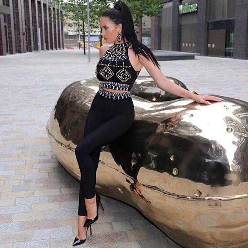 2018 новейшие модные два комплект из 2 частей Бисер черный Комбинезоны для женщин элегантные без рукавов Bodycon знаменитости Вечеринка бинты ко...