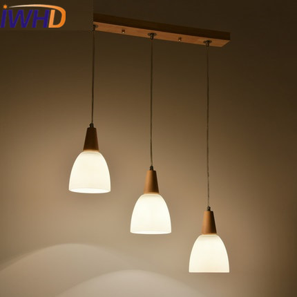 IWHD 3 Heads Modern Pendant Light Fixtures Glass Led Pendant Lamp Simple Kitchen Lampara Creative Wood Hang Lights Wandlamp ...