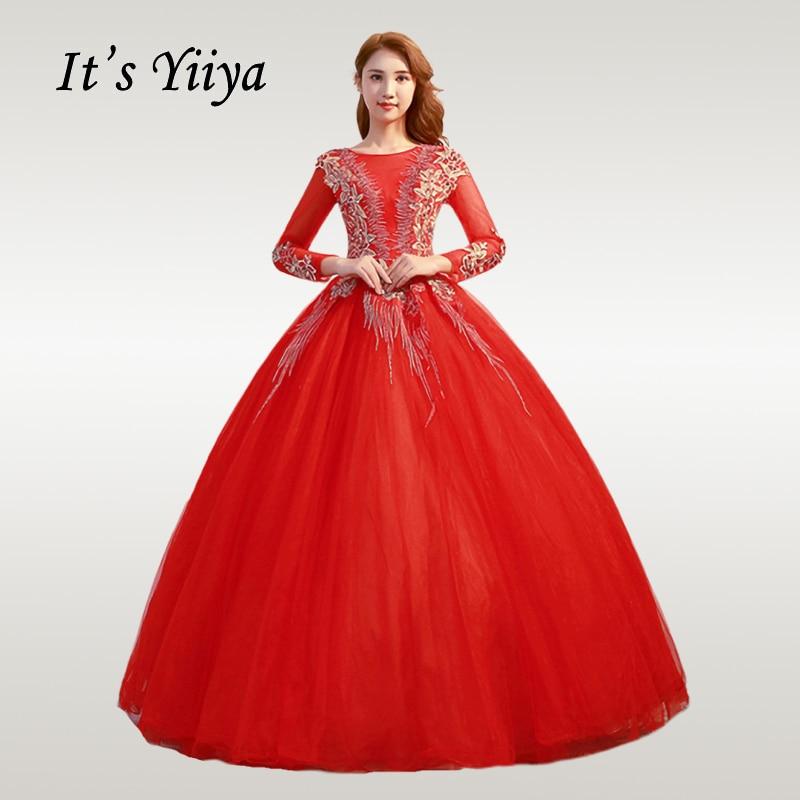 It's YiiYa Wedding Dress 2019 Elegant Long Sleeve Red Muslim Wedding Dresses O-neck Gold Lace Plus Size Vestido De Novia CH225