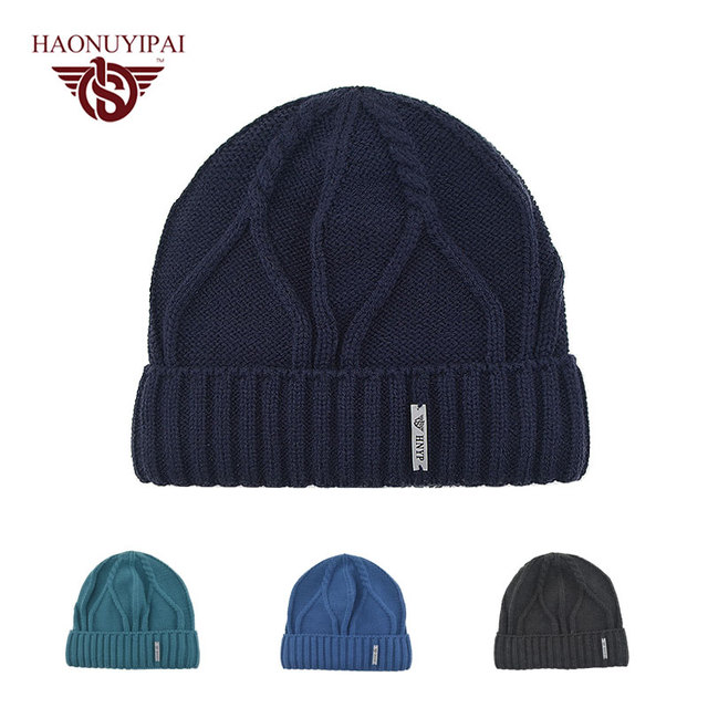 2016 Winter Fashion Twill Knitted Caps 4 Colors Adult Casual Hats Cotton Acrylic Cap Solid Double Plus Wool Cap For Men A112