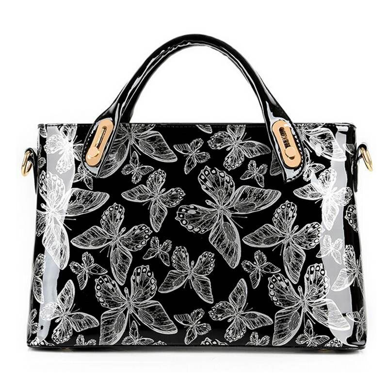 Factory Outlet Butterfly Patent Leather Shoulder Vintage Handbag Hard Messenger Women Bag Designer Handbags  WB336 patent leather handbag shoulder bag for women