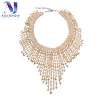 Vintage Crystal Choker Necklace For Women Beads Taseel Multi Layer Necklace Handmade Party Gift Boho Luxury Jewelry Women 2019